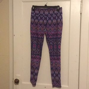 Purple Printed Mossimo Leggings Size Small